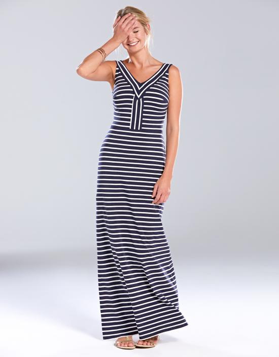 navy stripe maxi dress