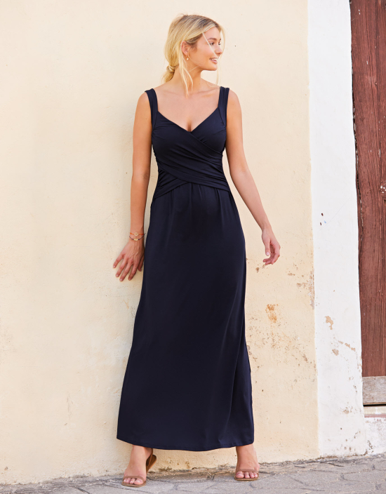 navy wrap maxi dress